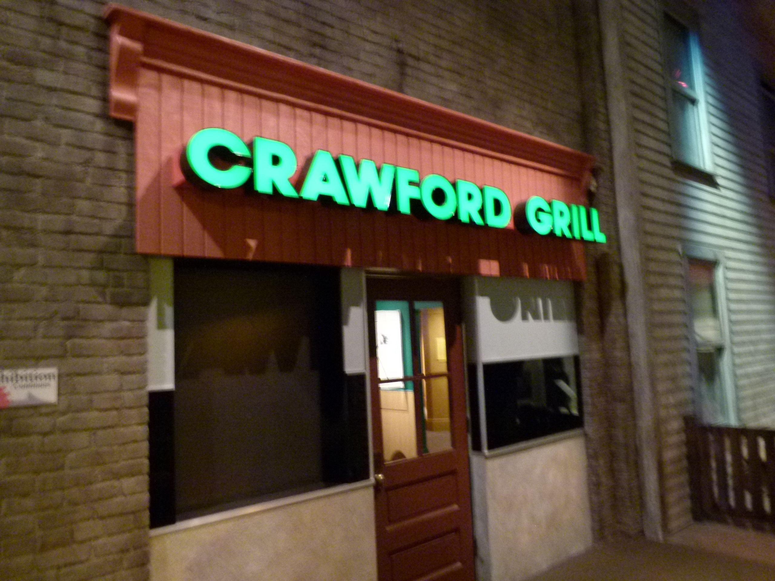 The exterior facade of the legendary Crawford Grill jazz club in Pittsburgh's Hill District.