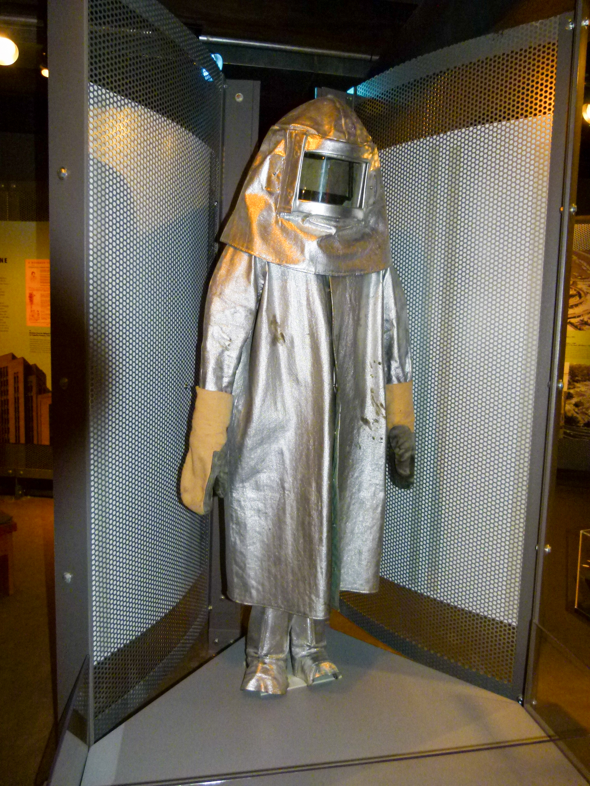 No this isn't an early NASA spacesuit, it's protective gear that steelworkers working close to the blast furnace wear.