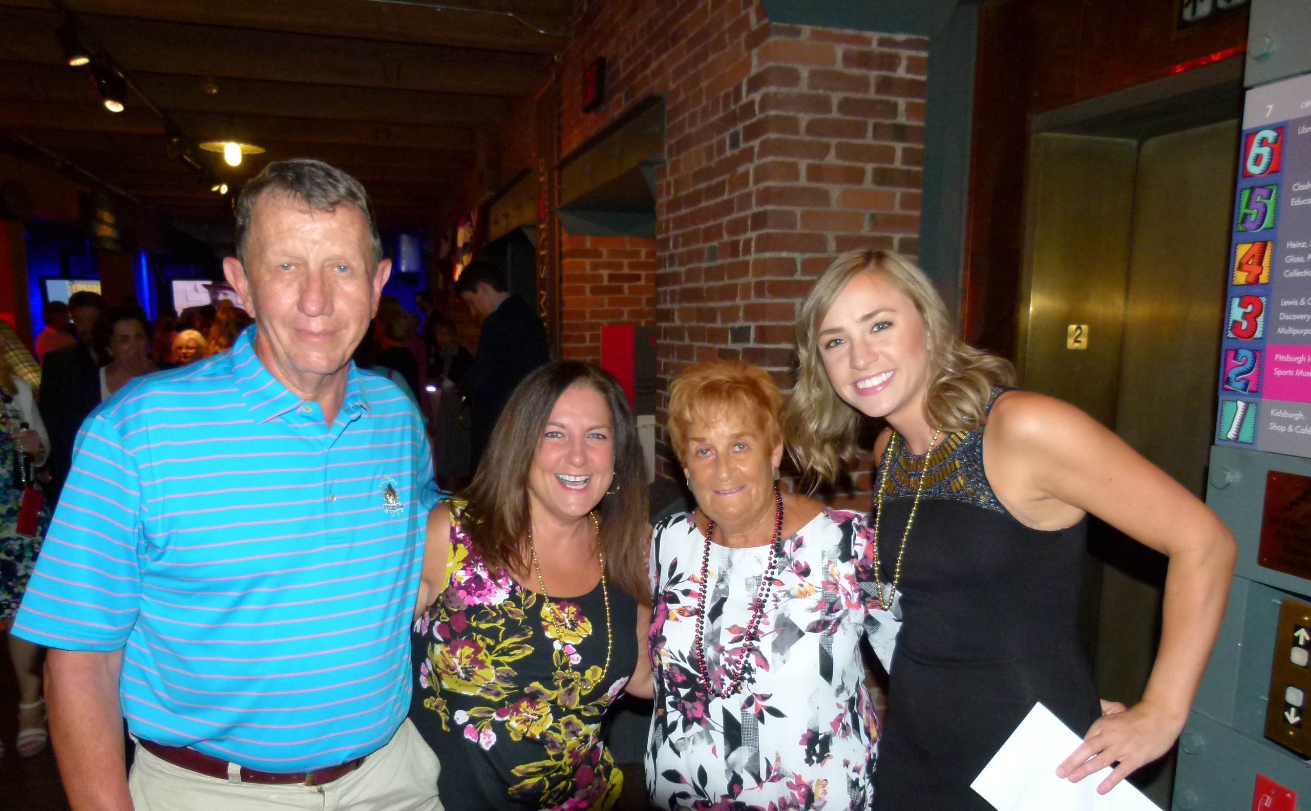 Judy O'Connor (center right), wife of the late Pittsburgh Mayor Bob O'Connor, flanked on the left by daughter Heidy O'Connor Garth, and Bob Jablonowski; and on the right by daughter in law Katie O'Connor (Councilman Corey O'Connor's wife).