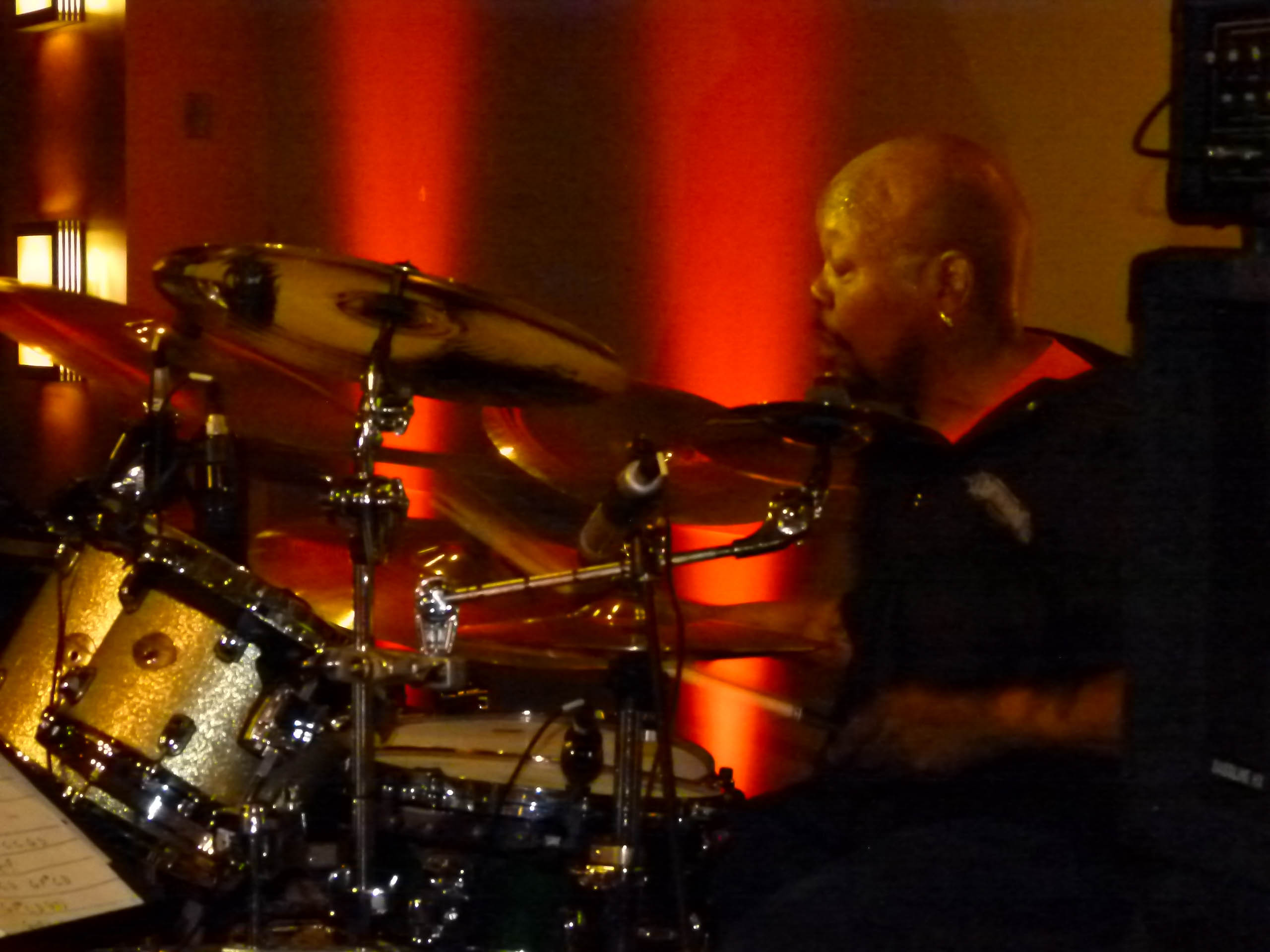 "The Houserockers' drummer Jeffrey ""Joffo"" Simmons with his sticks a blazin'."