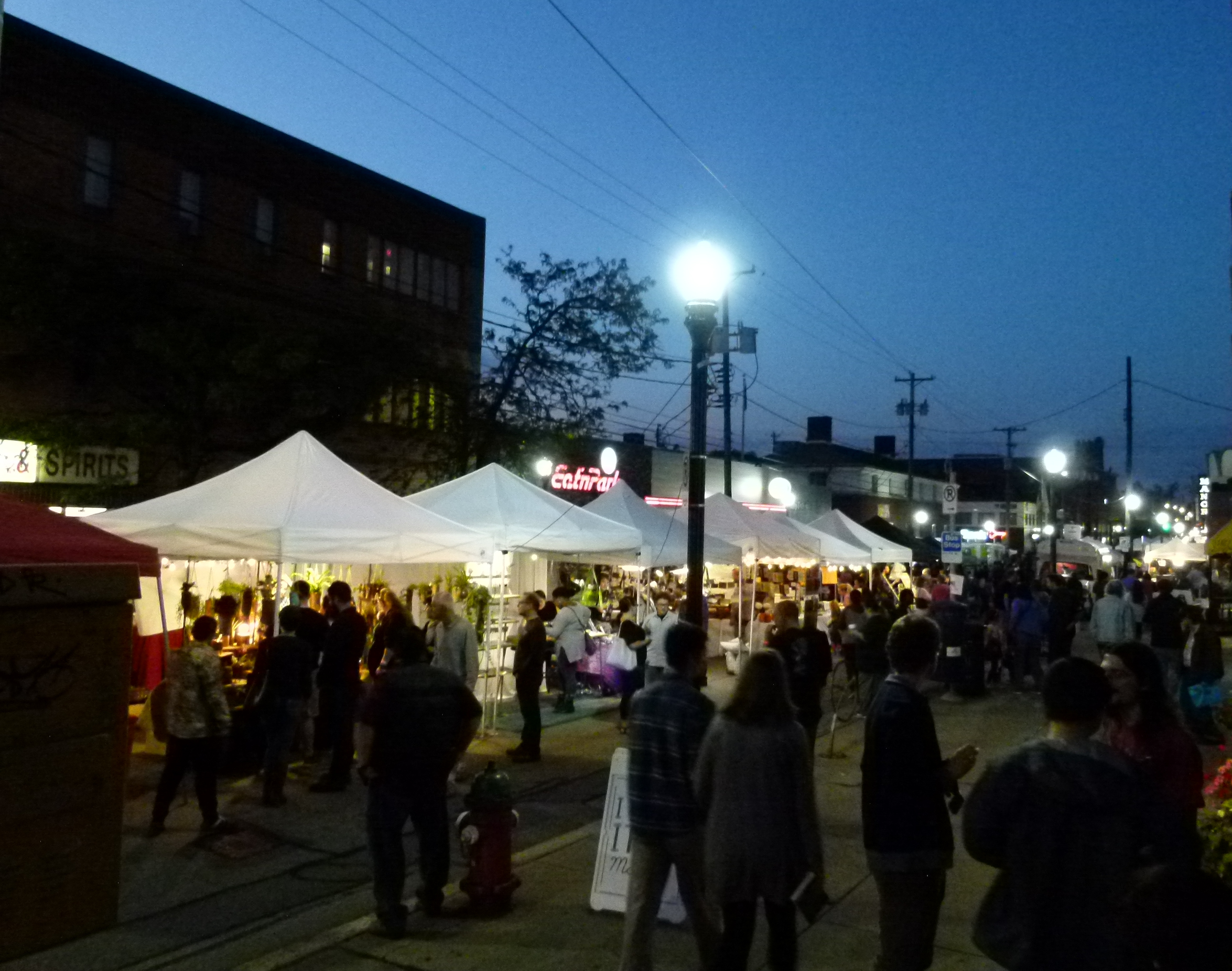 Lighted booths line the Murray Avenue promenade.
