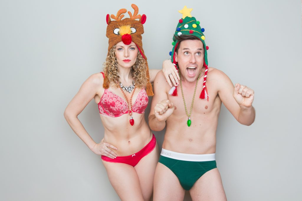 The Skivies in their holiday finest! At least their heads will be warm.