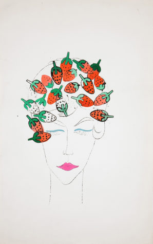 The Beatles could have written a song about this illustration of the girl with strawberry stamped hair. Andy Warhol, Woman (with Strawberry Stamps), 1950s, The Andy Warhol Museum, Pittsburgh, © The Andy Warhol Foundation for the Visual Arts, Inc.