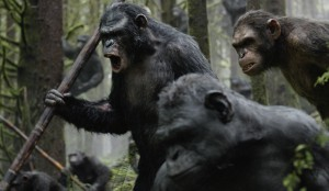 Koba (Toby Kebbell, left) is the kind of ape who screams loudly and carries a big stick.