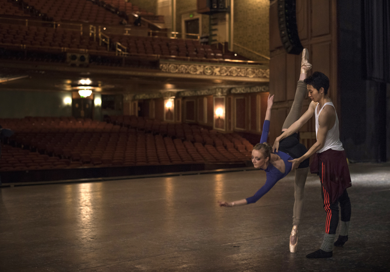 Soloist Hannah Carter and principal dancer Yoshiaki Nakano rehearse onstage at Benedum Center before doors open for The Nutcracker. Carter was playing the role of Mrs. Stahlbaum that night.