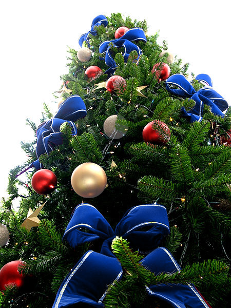 blue bead christmas tree with silver grey red ornaments