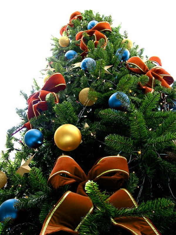 Orange Bead Christmas Tree with Blue & Gold Ornaments
