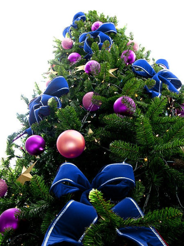 Blue Bead Christmas Tree with Purple & Violet Ornaments