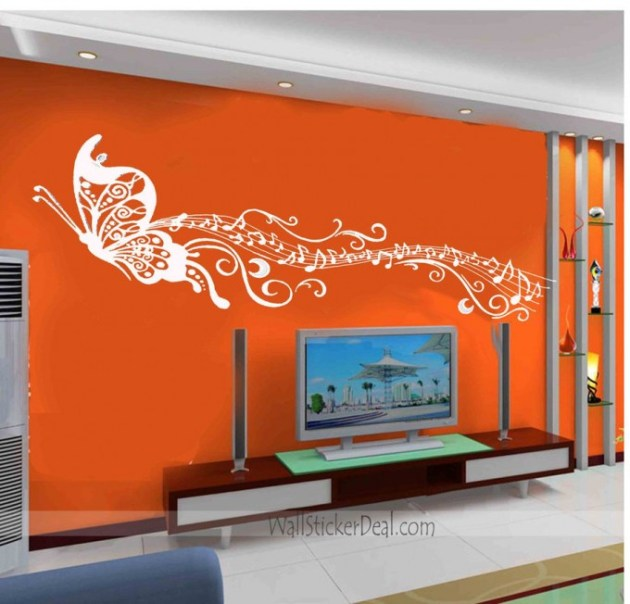 Butterfly Dancing with Music Wall Stickers