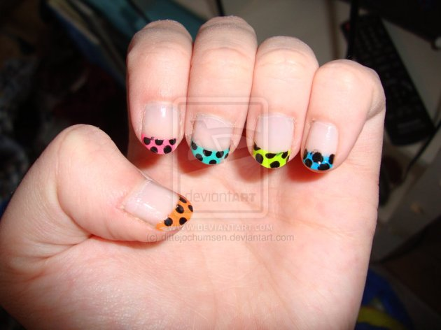 French rainbow dot nail art