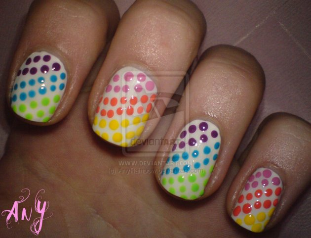 Rainbow Dots Nail Design