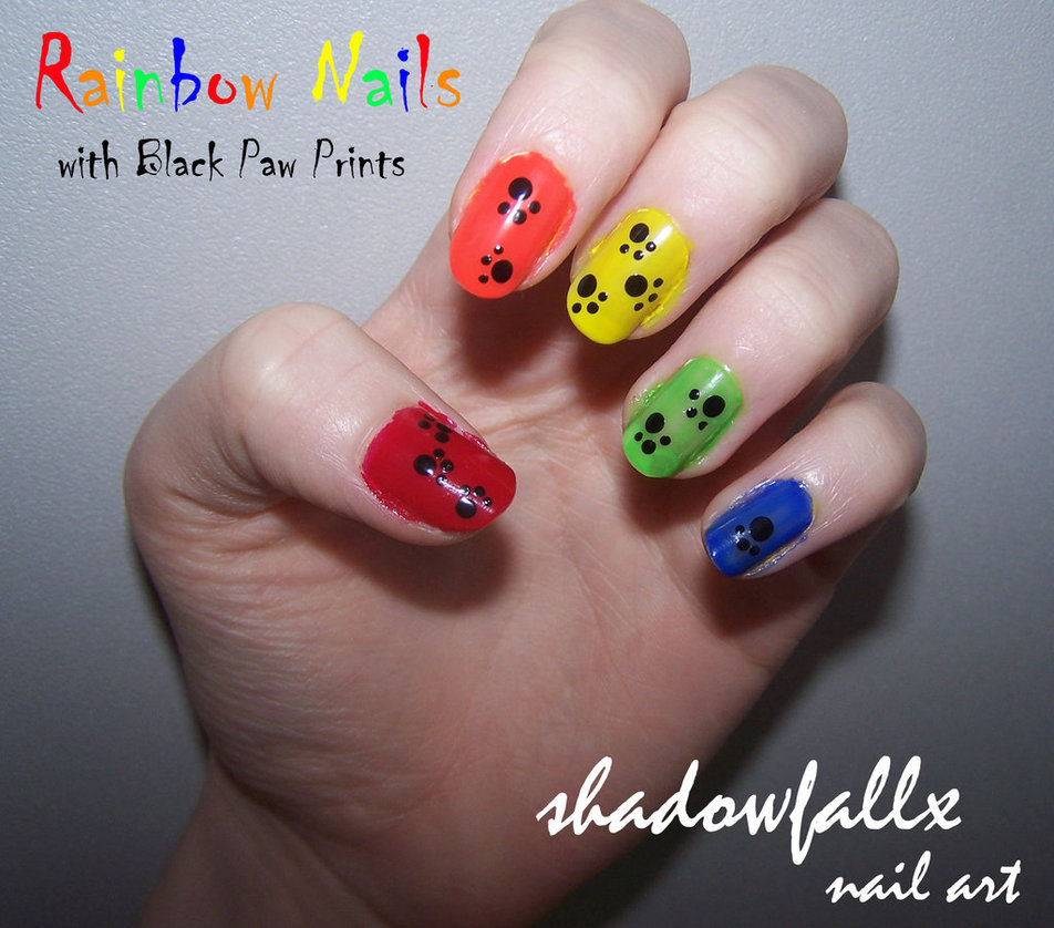 20 Amazing Nail Art Designs Inspired By Games We Play: Rainbow_paw_print_nails_by_shadowfallx-d54lsir