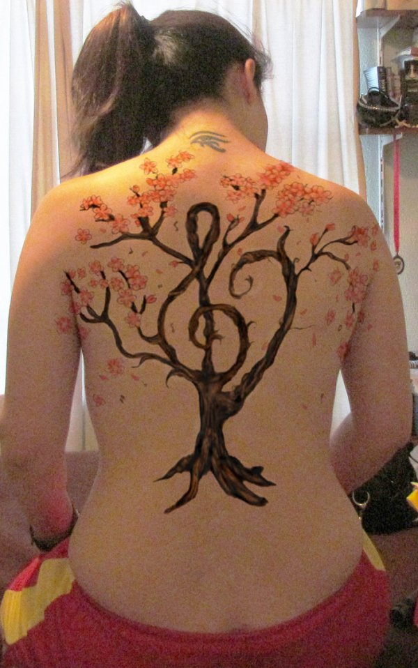 Cherry Blossom Music Tattoo