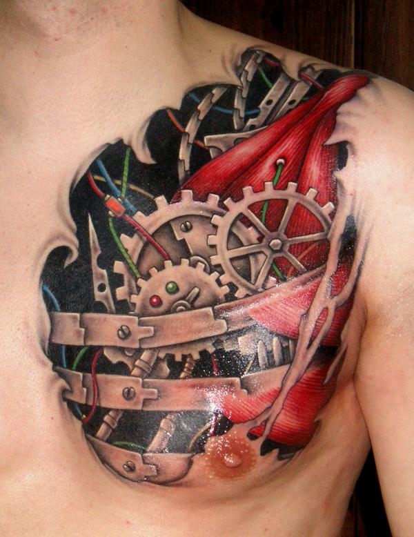 3D Heart Tattoo