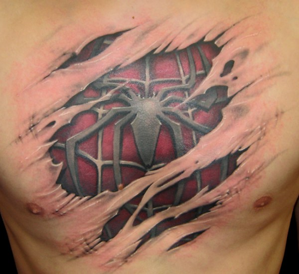 3D spiderman tattoo