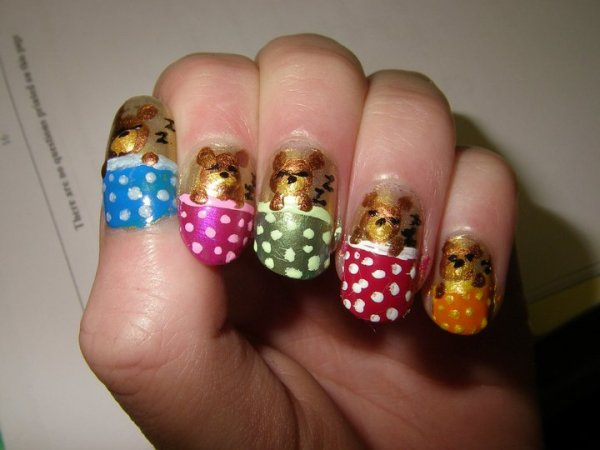 Sleeping Teddies Nail Art