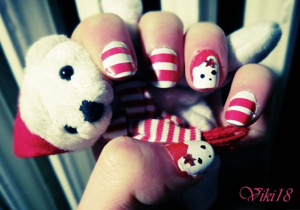 christmas bear nail art