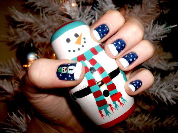 Christmas Snowman nails