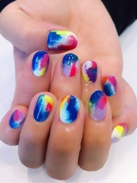 galaxy color nails