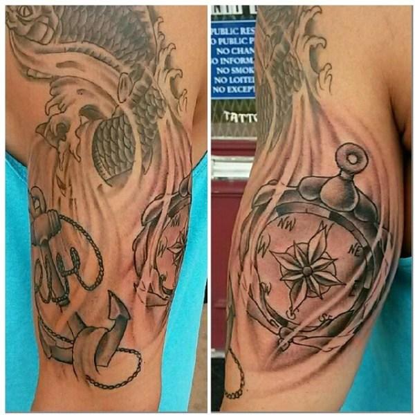 Compass Anchor Tattoo