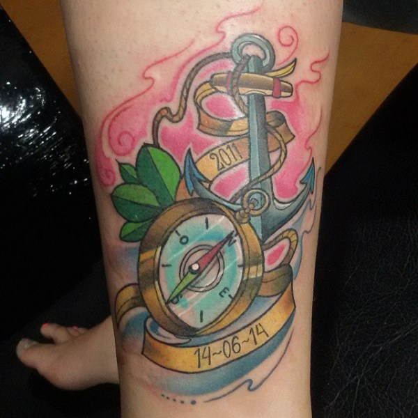 colorful anchor compass
