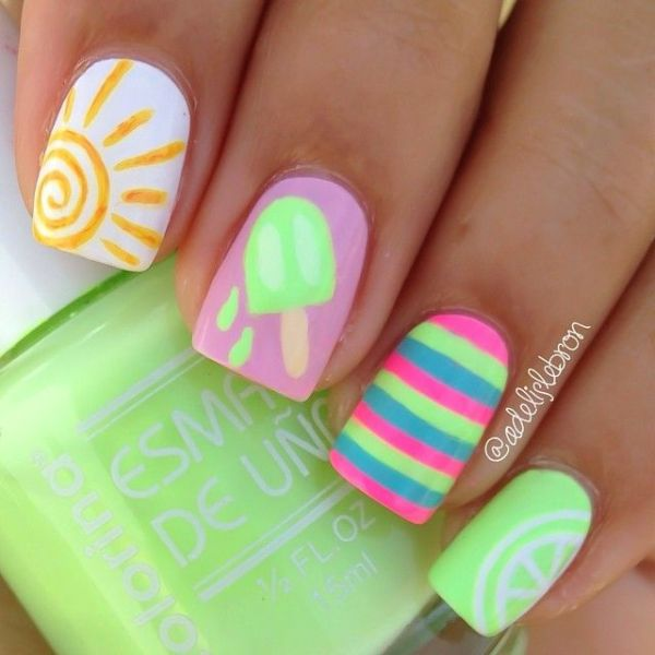 32 Gorgeous Nail Art Images Inspired By Summer Motifs: 20+ Beautiful Color Nails That Will Shine All Summer