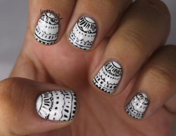18 black and white nail art