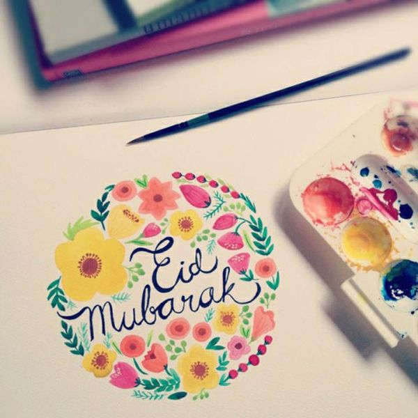 Eid Mubarak color drawing image
