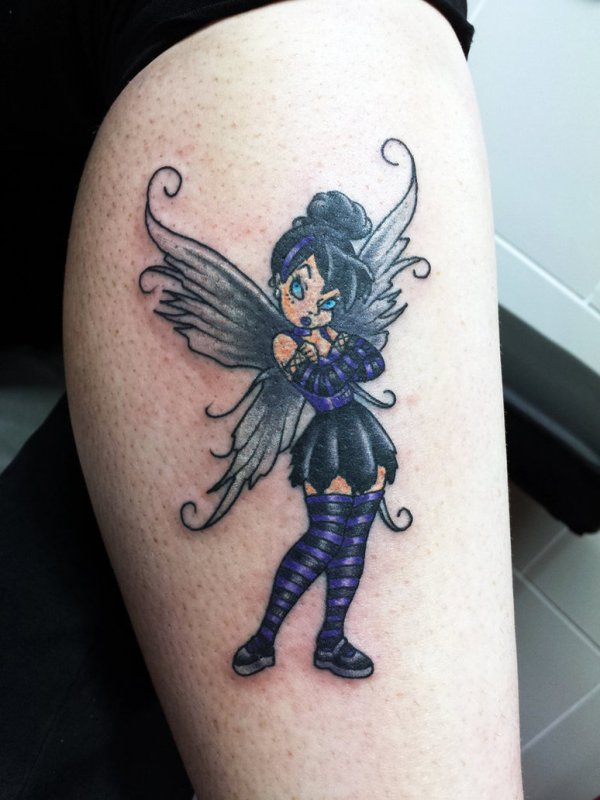 Gothic tinkerbell tattoo design
