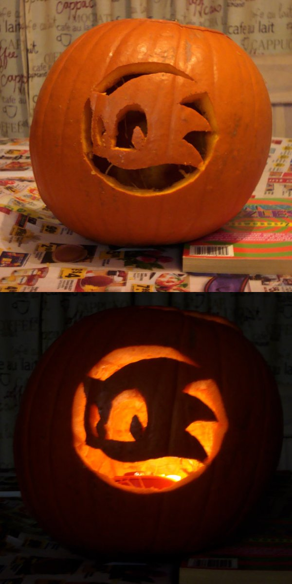 cool and easy sonic pumpkin carving idea for halloween