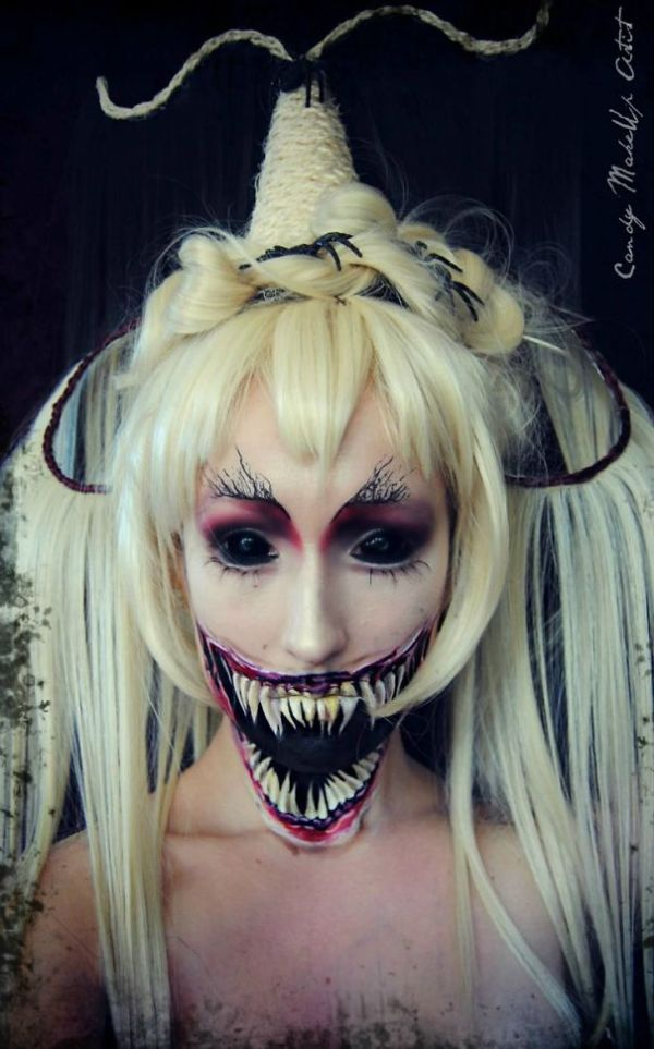 creepy demon face makeup