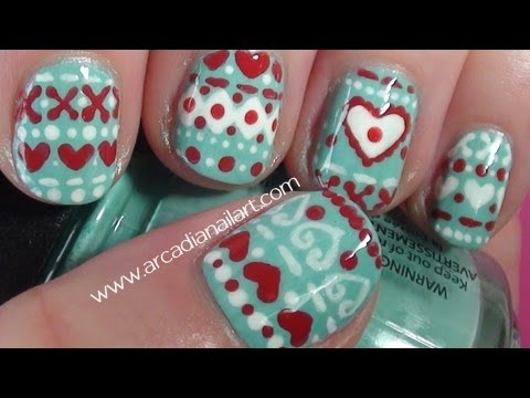 winter sweater nail art