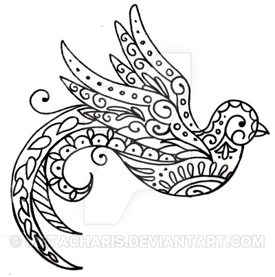 Paisley Bird Tattoo Sketch