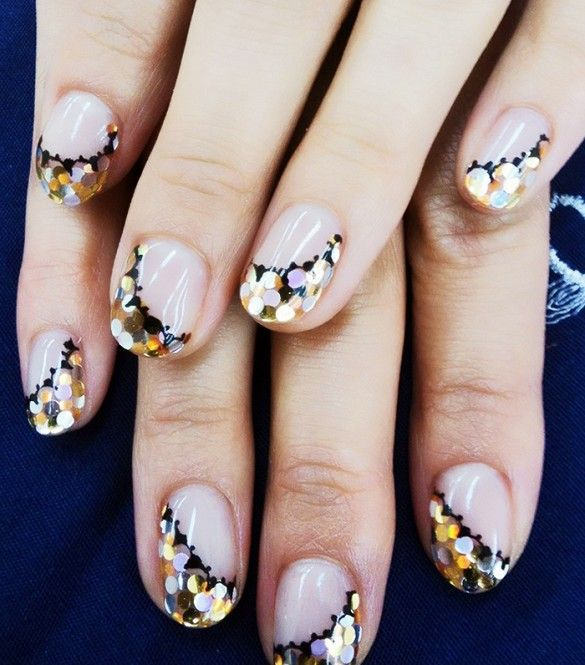 Glitter polished Festive nails