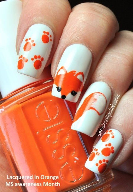 creative cute fox nails