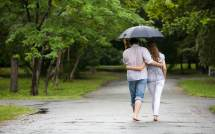 Romantic Love Couples in Rain