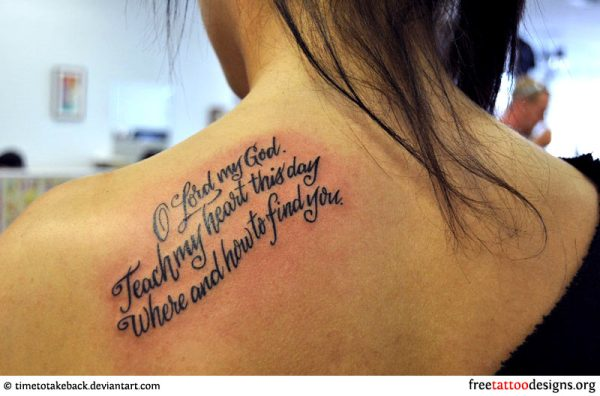 Bible phrase meaningful back shoulder tattoo