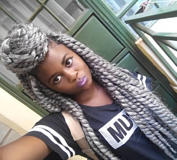 Long gray hair crochet braids with huge high bun