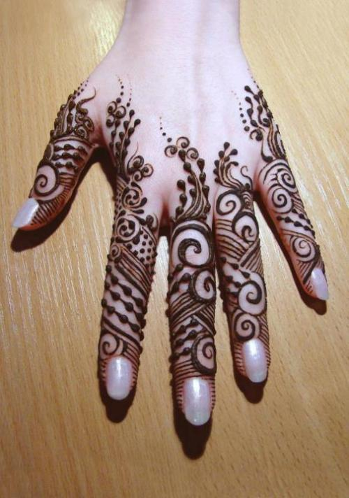 all fingers mehndi design on hands