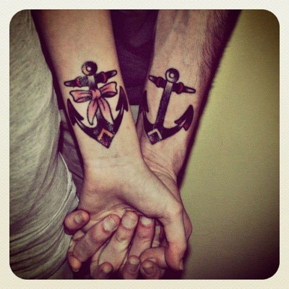 his and hers anchor tattoos
