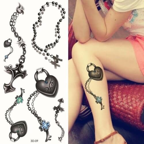 pretty 3d key and heart tattoo on leg