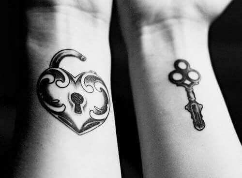 unlock heart with key tattoo on wrist