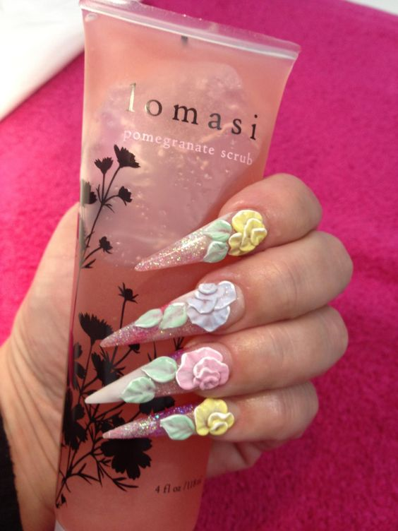 3d floral nail art
