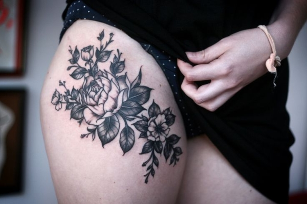 30 beautiful black and white flower tattoos for women appealing thigh flower tattoo mightylinksfo Image collections