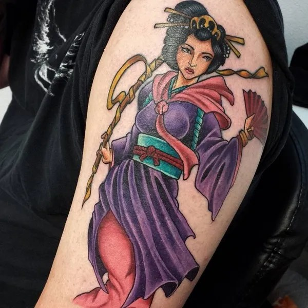 Feminine Anime Style Geisha tattoo