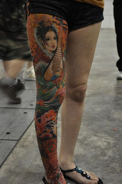 Leg geisha tattoo