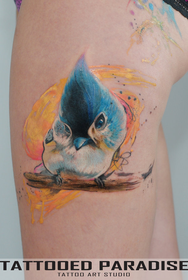 fun bird tattoo