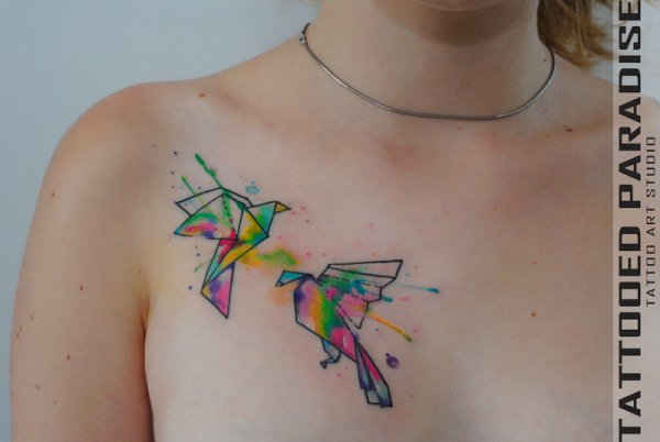 origami birds watercolor tattoo on chest