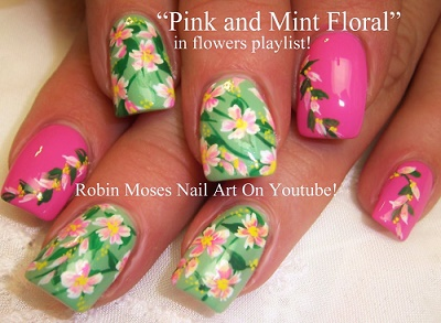 pink and mint floral spring nail manicures