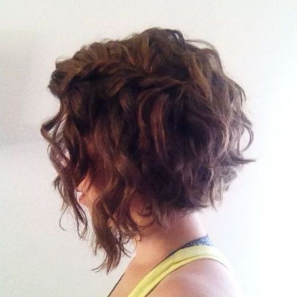 curly angled bob haircut
